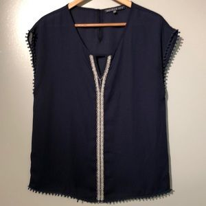 Brixon Ivy Beaded Navy Top SZ M